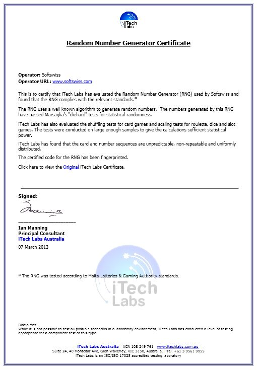 Softswiss certified by Itech Labs